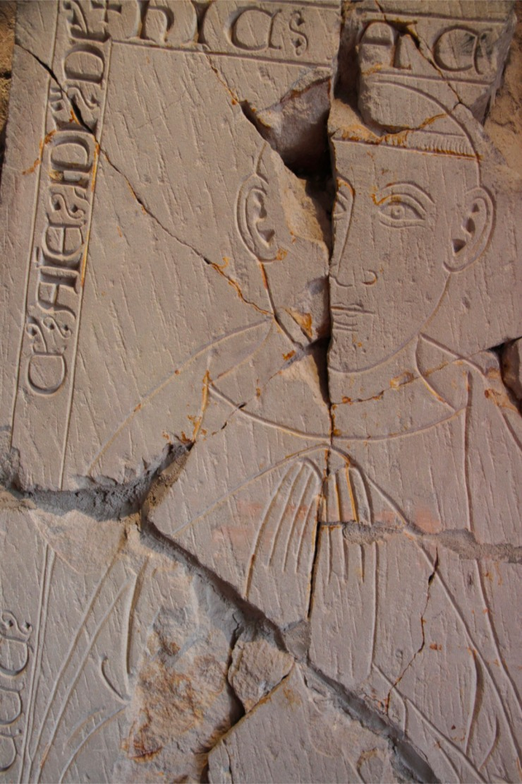 Carved coffin lids, St. Bees Priory, Cumbria, England