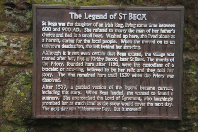 The legend of St. Bega, St. Bees, Cumbria, England