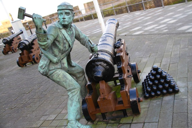 Gunnery sculpture, Whitehaven Harbour, Cumbria, England