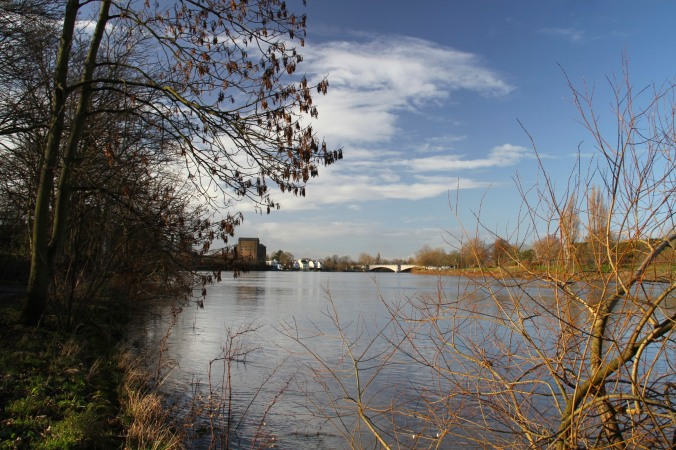 Chiswick Bridge from the Thames Path, London, England