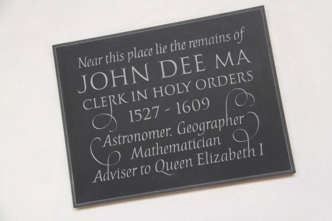 Plaque to John Dee, St. Mary the Virgin Church, Mortlake, London, England
