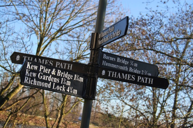 Thames Path sign, London, England