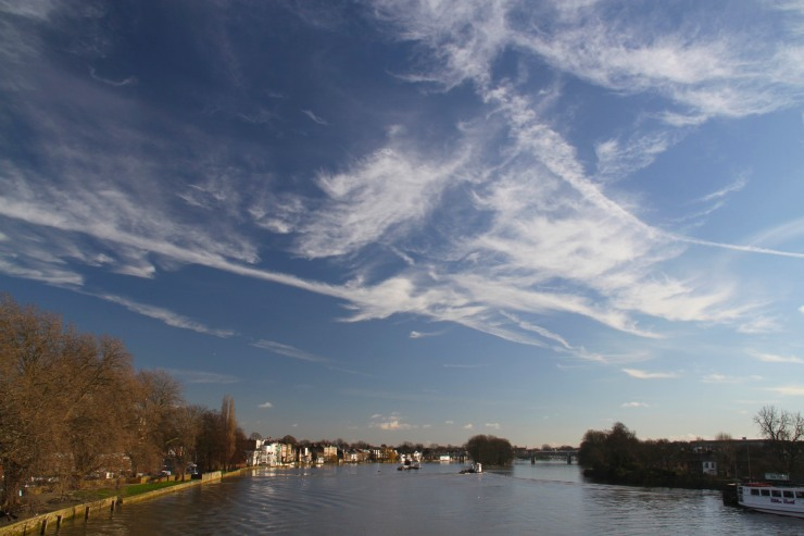 The River Thames and Strand-on-the-Green from Kew Bridge, London, England