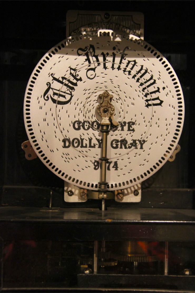 Metal perforated music disc, Musical Museum, London, England
