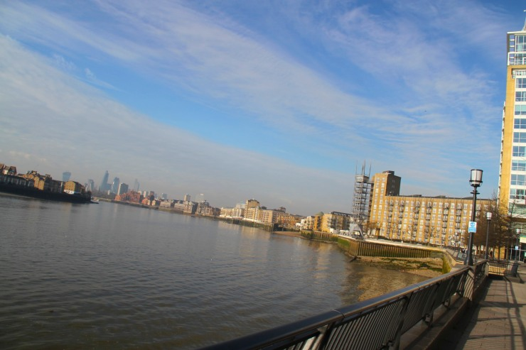 View of the River Thames from the Isle of Dogs, London, England