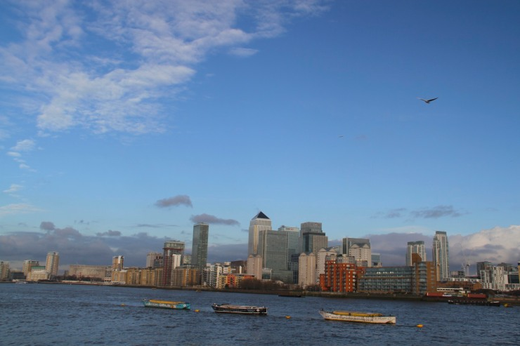 Canary Wharf from Deptford Strand, London, England