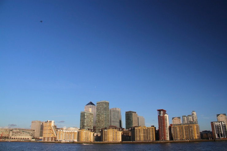 Canary Wharf from Deptford, London, England