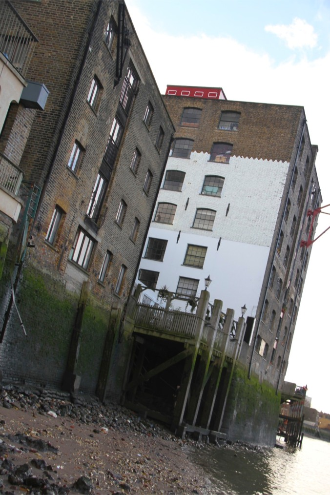 The foreshore by the Mayflower Pub, Rotherhithe, London, England
