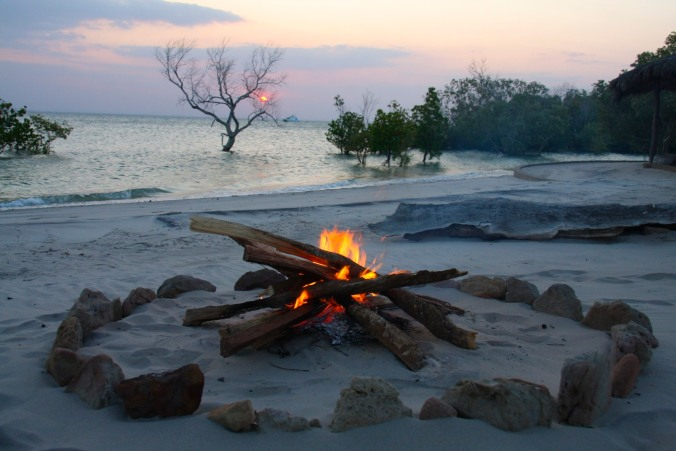 Camp fire over the Indian Ocean, Pemba, Mozambique