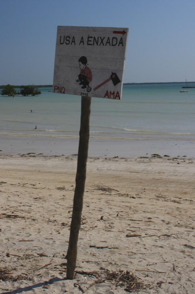 Beach sign, Quirimba Island, Quirimbas Archipelago, Mozambique, Africa