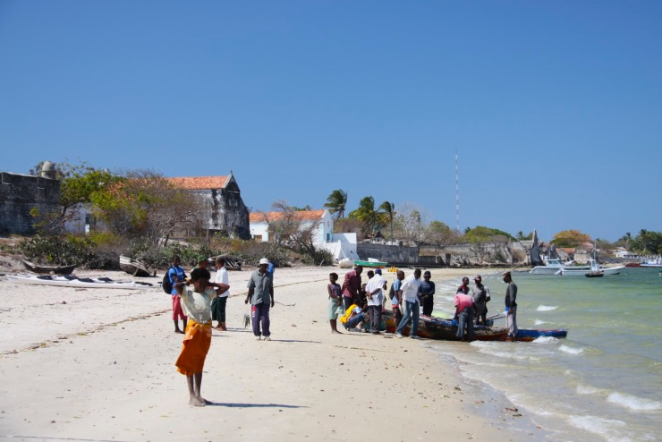 Boats and people on the beach, Ibo Island, Mozambique, Africa