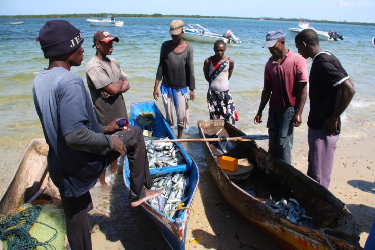 Fishing boats and people on the beach, Ibo Island, Mozambique, Africa