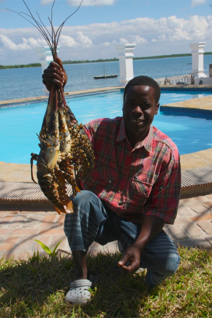 Fisherman selling lobster, Ibo Island, Quirimbas Archipelago, Mozambique
