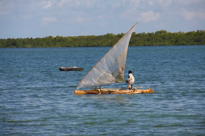Boat with plastic sails, Ibo Island, Mozambique, Africa
