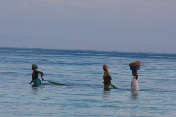 Women fishing, Wimbe Beach, Pemba, Mozambique, Africa