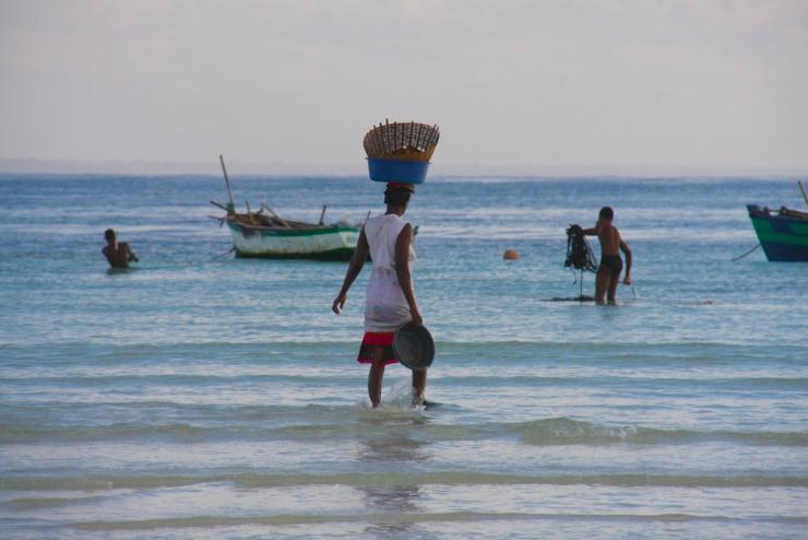 Women fishing, Wimbe Beach, Pemba, Mozambique, Africa