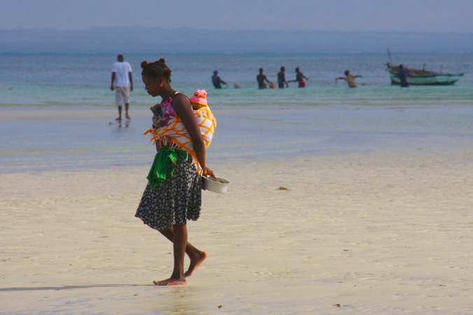 Woman and child, Wimbe Beach, Pemba, Mozambique, Africa
