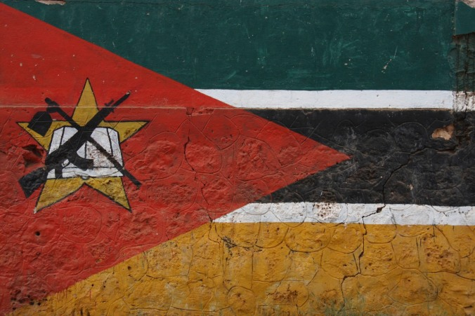 Mozambique flag painted on a wall, Mozambique