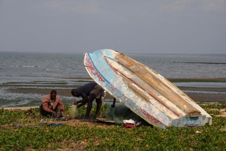Fishermen near Wimbe Beach, Pemba, Mozambique, Africa