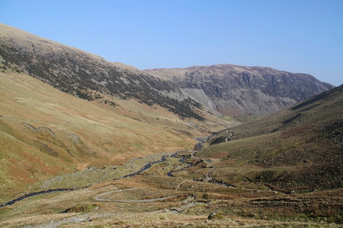 View back down the valley, Helvellyn, Lake District, England
