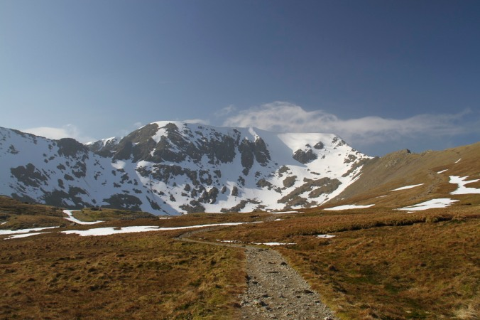 Helvellyn with Striding Edge (L) and Swirral Edge (R), Lake District, England