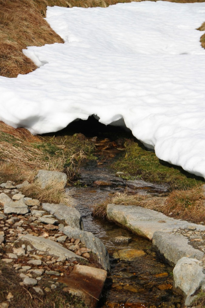 Snow melt, Helvellyn, Lake District, England