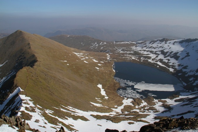 View of Red Tarn from Swirral Edge, Helvellyn, Lake District, England