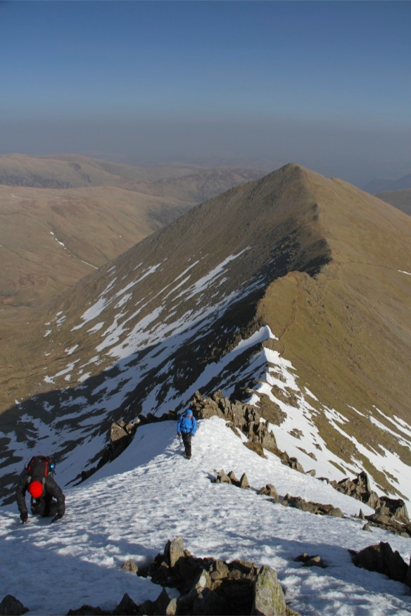 The snow line, Swirral Edge, Helvellyn, Lake District, England