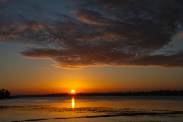 Sunset over the lagoon, Bilene, Mozambique, Africa