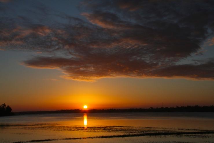 Sunset over the lagoon, Bilene, Mozambique, Africa