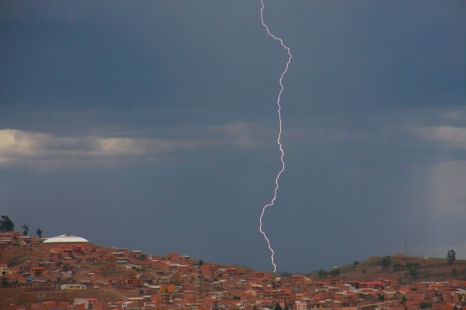 Lightening strikes over Sucre, Bolivia
