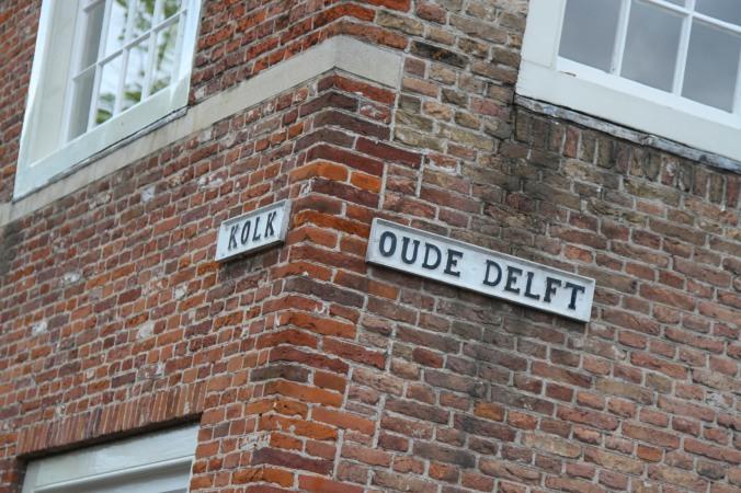 Street sign for 'Oude Delft', Delft, Netherlands
