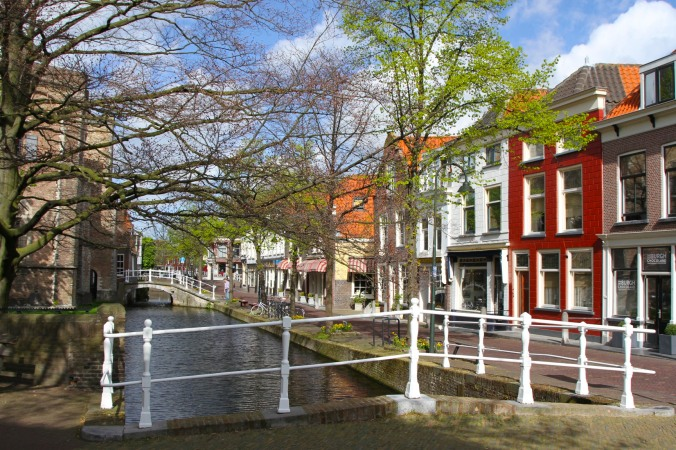 Canal in old Delft, Netherlands