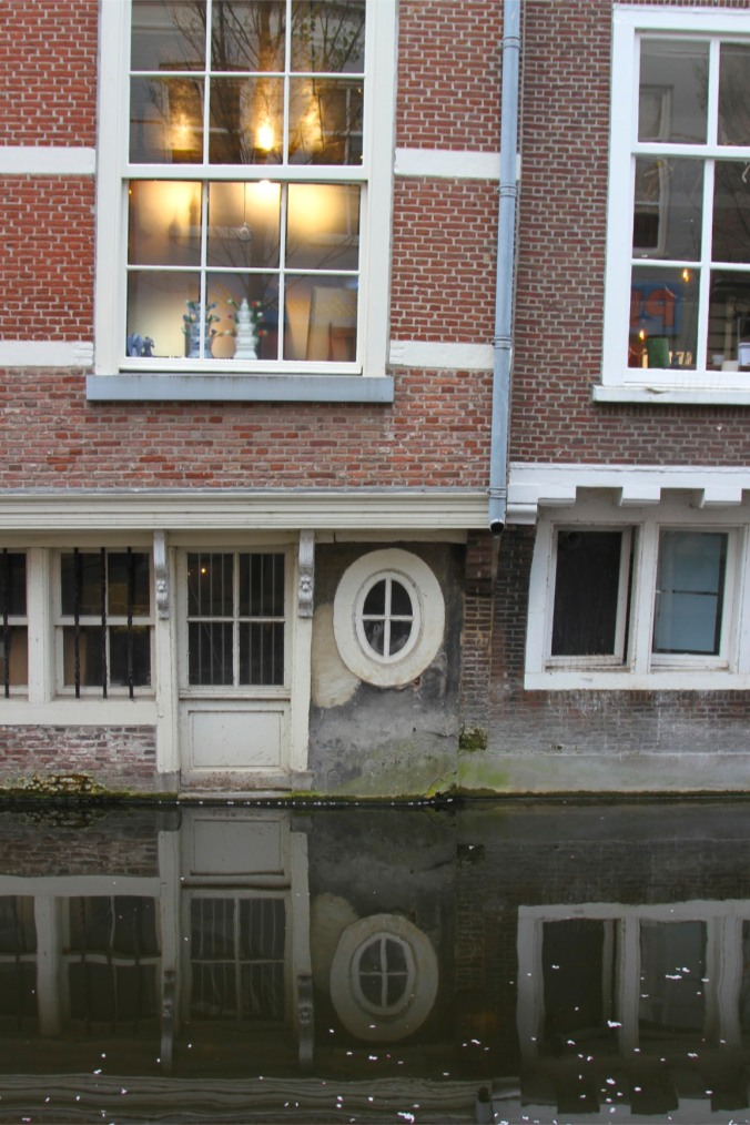 Canal and building, Delft, Netherlands