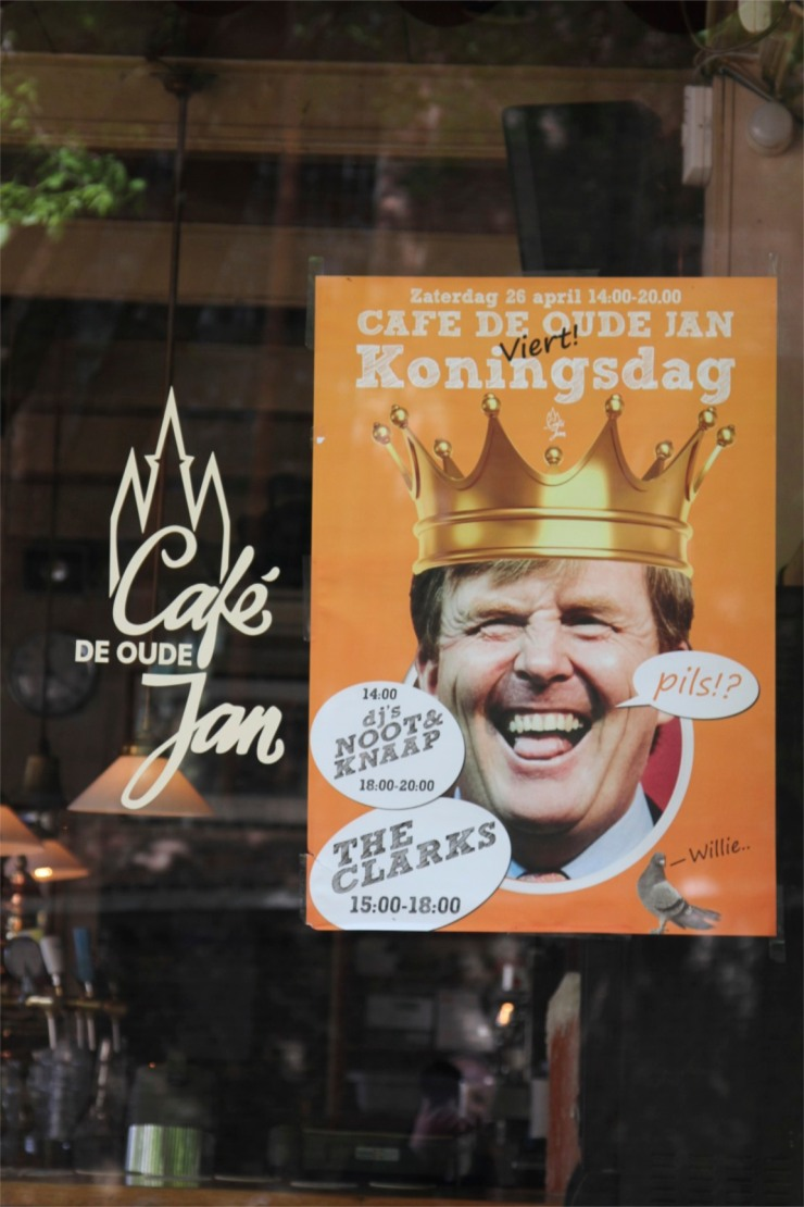 Poster of King Willem-Alexander in preparation for Kings Day festivities, Delft, Netherlands