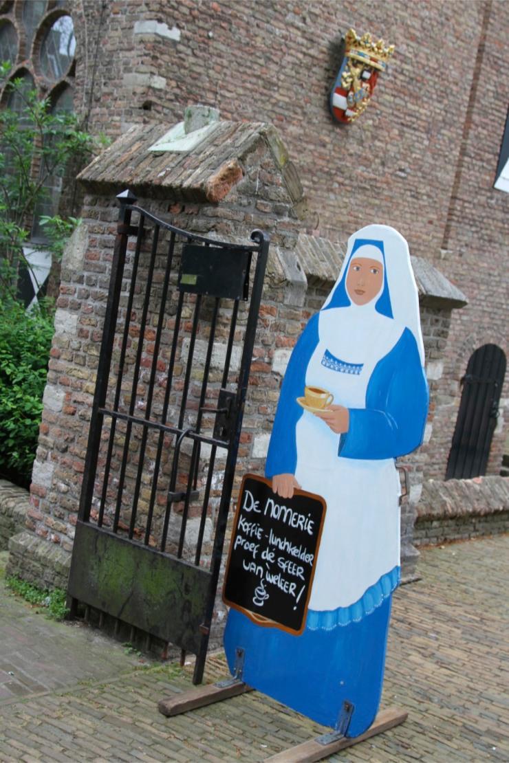 Nun advertising, Delft, Netherlands