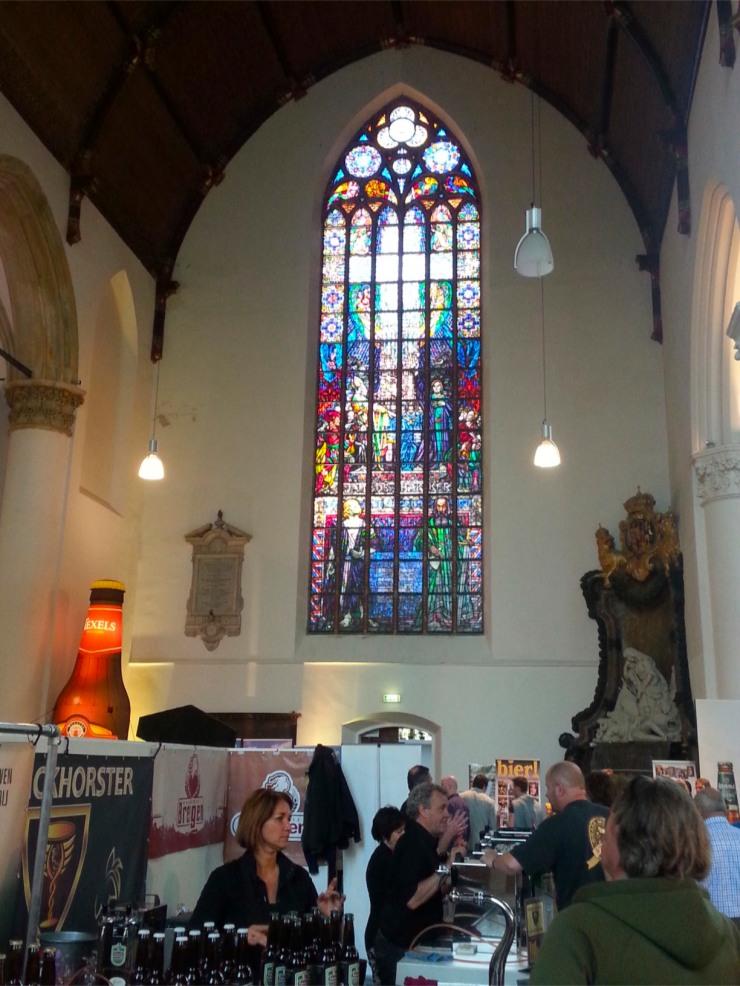 Inside the Grote Kerk at The Hague Beer Festival, Netherlands