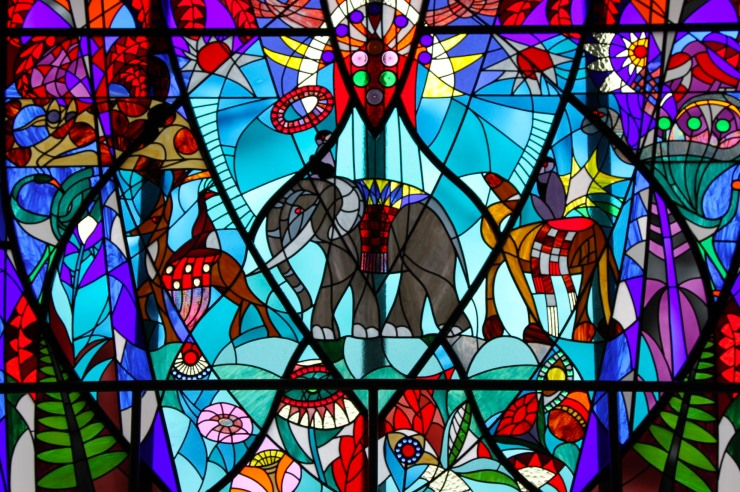 Stained glass window in a department store, The Hague, Netherlands