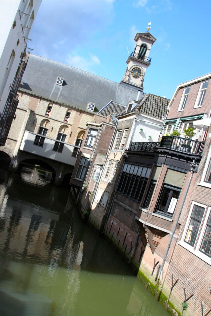 Dordrecht City Hall straddles a canal, Netherlands
