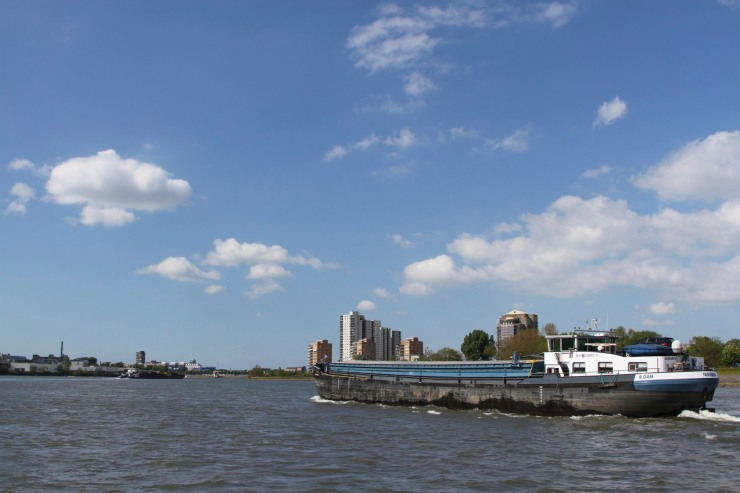 Barge on the Noord, between Dordrecht and Rotterdam, Netherlands