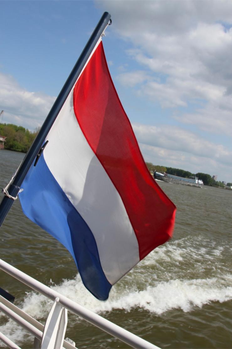 Water taxi flag, between Dordrecht and Rotterdam, Netherlands