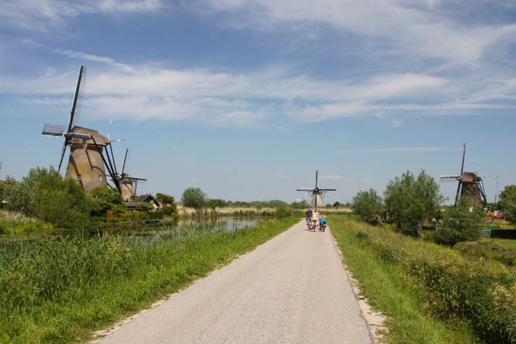 Cyclists and windmills, Kinderdijk, Netherlands