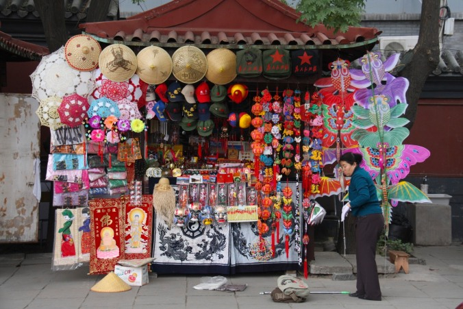 Stall outside a Buddhist temple, Beijing, China