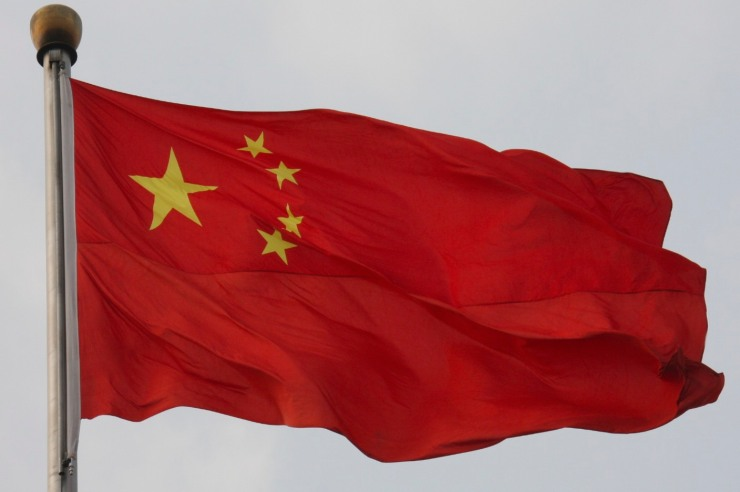 Chinese flag flying in Beijing, China