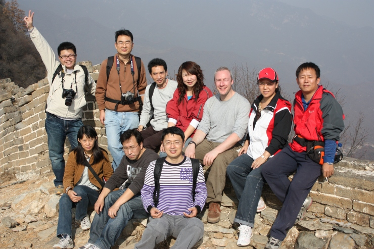 Meeting people on the Great Wall of China at Jiankou, China