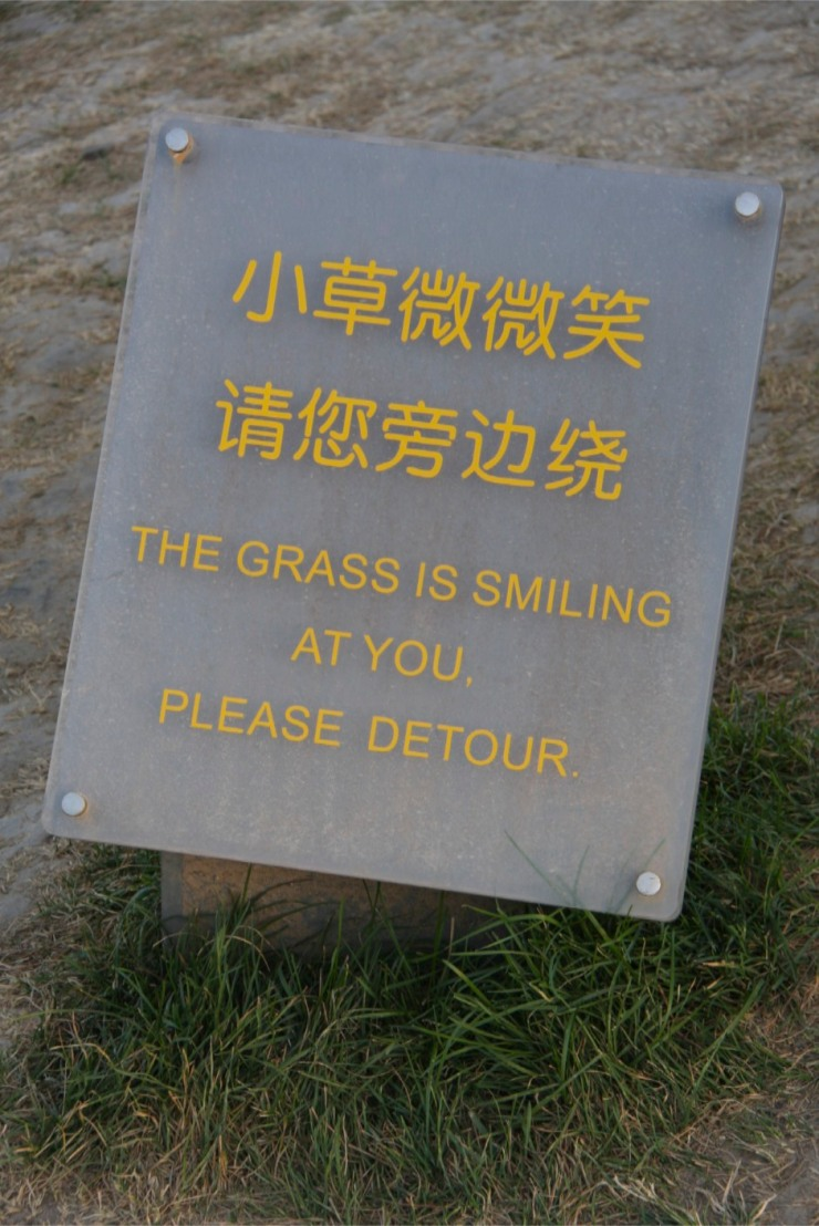 What grass? Sign near the Beijing Olympic Park, Beijing, China