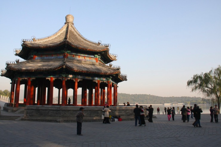 People dance in The Summer Palace, Beijing, China