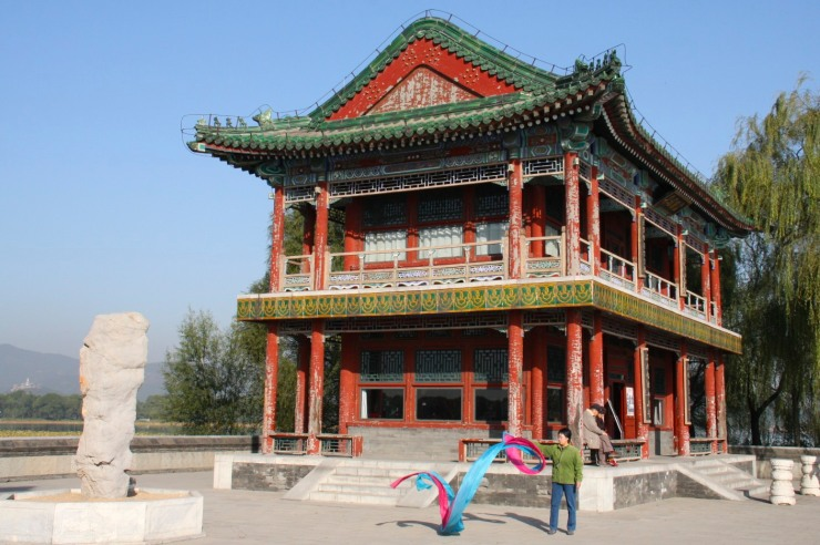 A woman exercises in Yiheyuan, the Summer Palace, Beijing, China