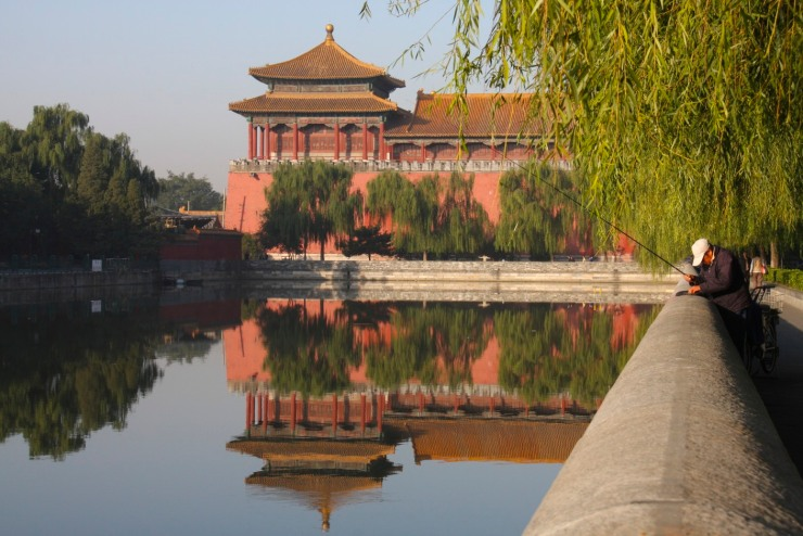 Walls and moat around The Forbidden City, Beijing, China