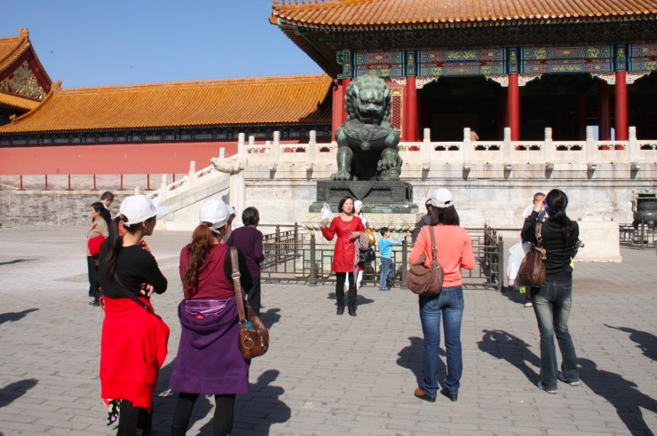 People pose for photos, The Forbidden City, Beijing, China